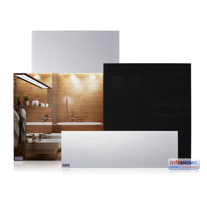infranomic slim line glas infrarotheizung spiegel rahmenlos. Black Bedroom Furniture Sets. Home Design Ideas